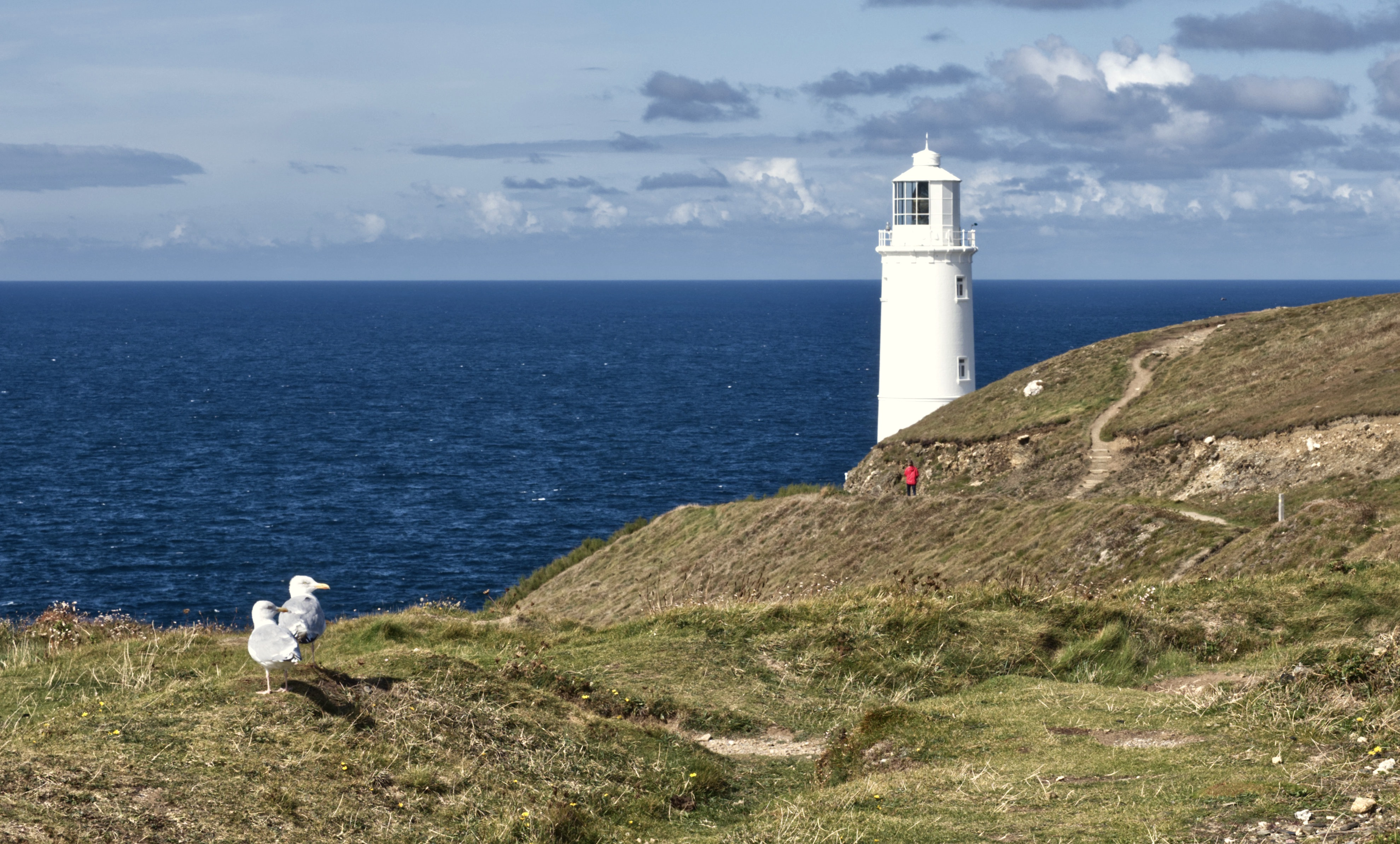 two-gulls-trevose-lighthouse-and-red-jacket-by-richard